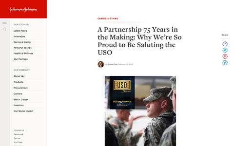A Partnership 75 Years in the Making: Why We're So Proud to Be Saluting the USO | Johnson & Johnson