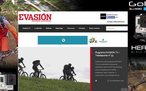Screenshot of Home Page revistaevasion.com - Revista Evasión | Viajes, escapadas y material outdoor - captured Oct. 1, 2014