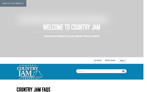 Screenshot of FAQ Page zendesk.com - Country Jam - captured Feb. 27, 2017