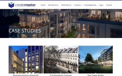 Screenshot of Case Studies Page createmaster.co.uk - Createmaster recent projects | Market leaders in project handover documentation - captured Sept. 30, 2018