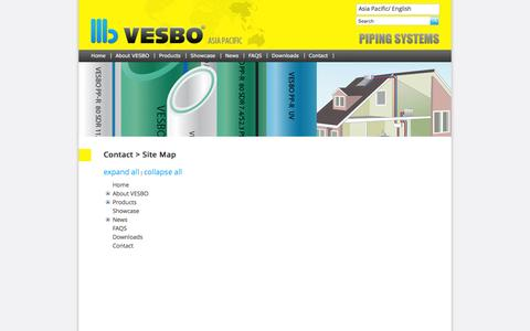 Screenshot of Site Map Page vesbo.com.sg - Vesbo > Contact > Site Map - captured March 8, 2016