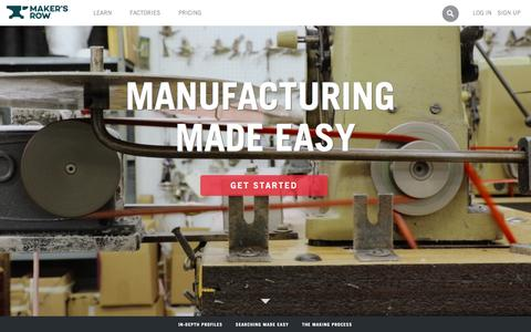 Screenshot of Home Page makersrow.com - Maker's Row - Factory Sourcing Made Easy - captured Feb. 11, 2016