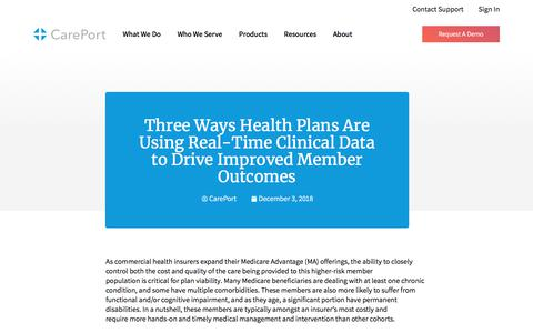 Screenshot of Blog careporthealth.com - Three Ways Health Plans Are Using Real-Time Clinical Data to Drive Improved Member Outcomes - Careport Health - captured Feb. 20, 2020