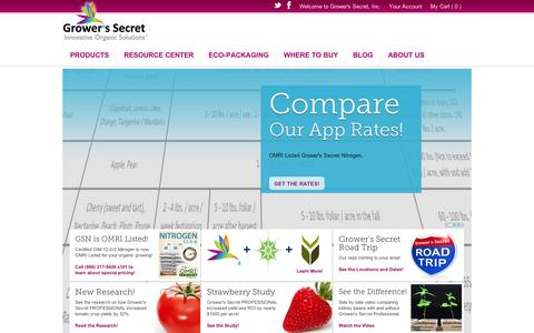 Screenshot of Home Page growerssecret.com - Grower's Secret Garden & Lawn - Natural & Organic Garden Fertilizer - captured Sept. 10, 2014