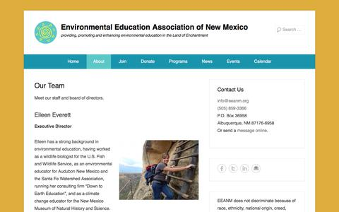 Screenshot of Team Page eeanm.org - Our Team - Environmental Education Association of New Mexico - captured Aug. 14, 2017