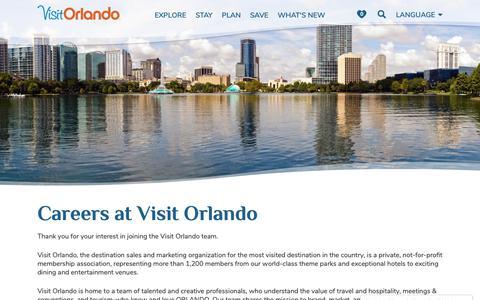 Screenshot of Jobs Page visitorlando.com - Careers at Visit Orlando - captured Jan. 29, 2019