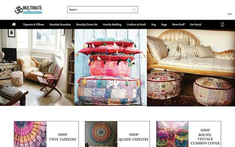 Screenshot of Home Page savepie.com - Online shopping Indian Handmade Mandala Tapestry Wall hanging, Kantha Quilts, Poufs and ottomans, cushions, Rugs, Handbags and more online @ MultiMateCollection.com - captured July 23, 2016