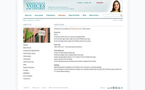 Screenshot of Maps & Directions Page ctvoices.org - Directions | Connecticut Voices for Children - captured Oct. 2, 2014