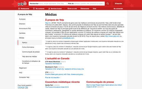 Screenshot of Press Page yelp.ca - Médias | Yelp - captured Oct. 29, 2018