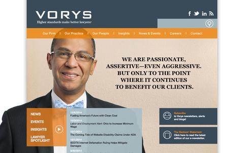 Screenshot of Home Page vorys.com - Vorys, Sater, Seymour and Pease LLP: Vorys, Sater, Seymour and Pease LLP | Law Firm in Columbus, Cleveland, Cincinnati and Akron, OH; Washington, D.C.; and Houston, TX - captured Oct. 6, 2014
