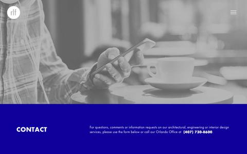 Screenshot of Contact Page rlfarchitects.com - Contact RLF Architects Engineering Interiors - Orlando Florida - captured Nov. 2, 2017