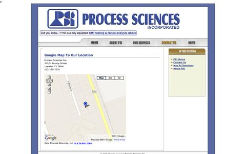 Screenshot of Maps & Directions Page process-sciences.com - Process Sciences Incorporated: Contact Us - Map & Directions - captured Oct. 3, 2014