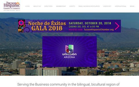 Screenshot of Home Page tucsonhispanicchamber.org - Tucson Hispanic Chamber of Commerce - Home - captured Oct. 18, 2018