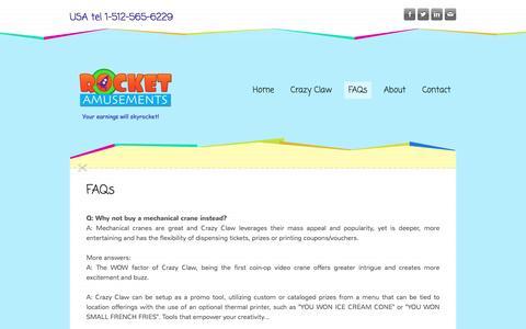 Screenshot of FAQ Page rocketamusements.com - FAQs - captured Jan. 11, 2016
