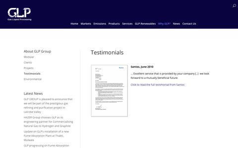 Screenshot of Testimonials Page glp.com.au - Testimonials | GLP - captured Sept. 26, 2018