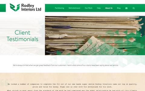Screenshot of Testimonials Page rodleyinteriors.co.uk - Client Testimonials – Rodley Interiors Ltd, Leeds - captured Oct. 20, 2018