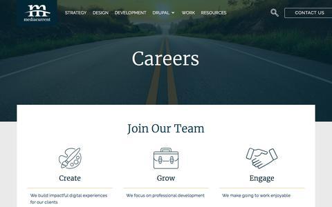 Screenshot of Jobs Page mediacurrent.com - Careers   Mediacurrent - captured July 19, 2019