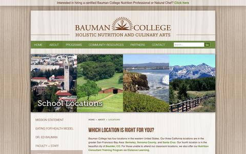Screenshot of Locations Page baumancollege.org - Locations - Bauman College - captured Sept. 22, 2014