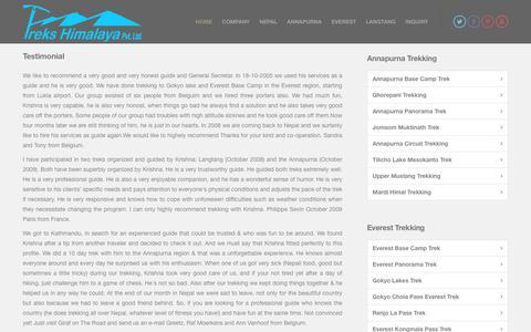 Screenshot of Testimonials Page trekshimalaya.com - Company Testimonial - Recommend Trekking Company - captured June 24, 2018