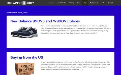 Screenshot of Blog bigapplebuddy.com - Tips for Buying from the USA - Big Apple Buddy - captured Sept. 30, 2014