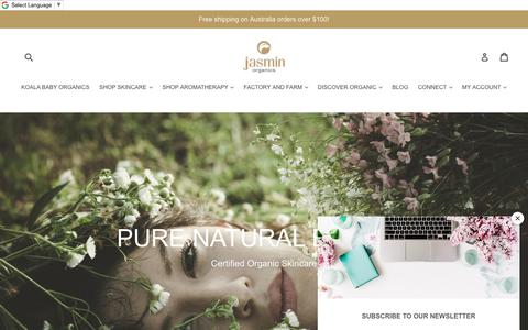 Screenshot of Home Page jasminorganics.com - Pure Natural Beauty | Certified Organic Skincare Australia | Jasmin                      – Jasmin Organics - captured Oct. 13, 2018