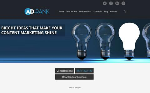Screenshot of Home Page ad-rank.com - Content marketing agency London | Ad-Rank - captured Sept. 23, 2014