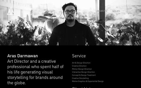 Screenshot of About Page arasdarmawan.com - ARAS DARMAWAN - ART DIRECTION, DESIGN, MOTION GRAPHICS - captured Dec. 19, 2018