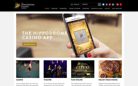 Screenshot of Home Page hippodromecasino.com - Hippodrome Casino | Live Casino | Entertainment London | Late Night Bars - captured July 10, 2017