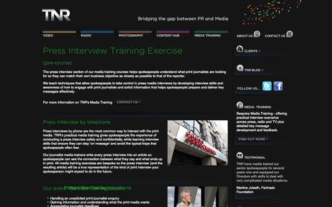 Screenshot of Press Page tnrcommunications.co.uk - Press Interview Training at the Press Association - captured Sept. 30, 2014