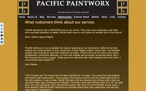 Screenshot of Testimonials Page pacificpaintworx.com - Pacific Paintworx - Testimonials - captured Oct. 1, 2014