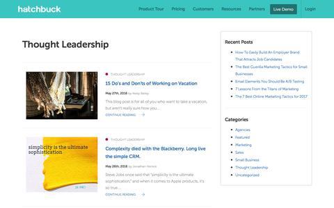 Screenshot of Blog hatchbuck.com - Thought Leadership Archives - Page 2 of 4 - Hatchbuck - captured Jan. 13, 2017
