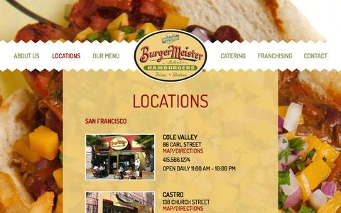 Screenshot of Locations Page burgermeistersf.com - Locations | BurgerMeister - captured Nov. 3, 2014