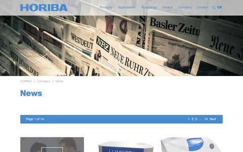 Screenshot of Press Page horiba.com - HORIBA: News - captured Sept. 23, 2018