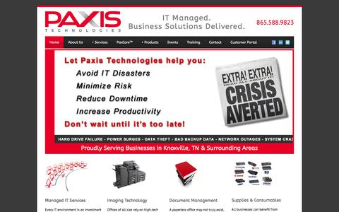 Screenshot of Home Page paxistech.com - Managed IT & IT Support Knoxville TN | Paxis Technologies - captured Jan. 26, 2016