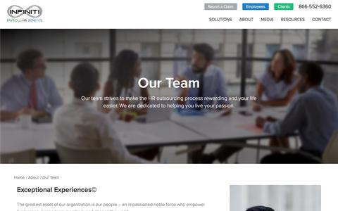 Screenshot of Team Page infinitihr.com - Our Team - InfinitiHR | Human Resource Consulting & HR Services - captured Oct. 2, 2019