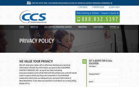 Screenshot of Privacy Page yourccsteam.com - Privacy Policy | Customer Contact Services - captured June 19, 2018