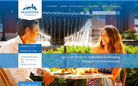 Screenshot of Home Page mashpeecommons.com - Mashpee Commons - captured July 12, 2014