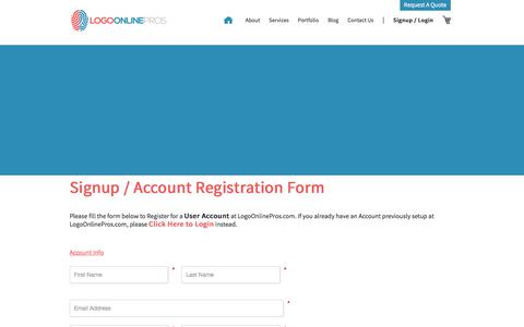 Screenshot of Signup Page logoonlinepros.com - Signup / Account Registration - captured July 21, 2018