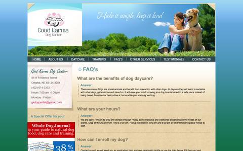 Screenshot of FAQ Page goodkarmadogcenter.com - Good Karma Dog Center - captured June 21, 2016