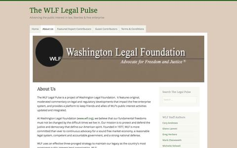 Screenshot of About Page wlflegalpulse.com - About Us – The WLF Legal Pulse - captured Dec. 28, 2016