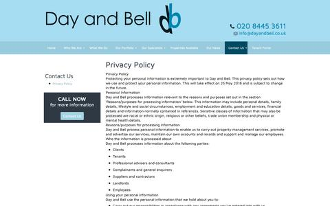 Screenshot of Privacy Page dayandbell.co.uk - Privacy Policy | Day And Bell - captured Oct. 8, 2018
