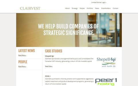 Screenshot of Case Studies Page clairvest.com - Case Studies - captured Oct. 2, 2014