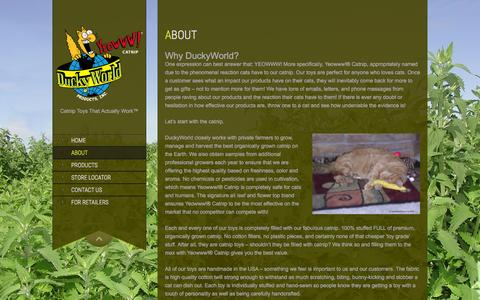 Screenshot of About Page duckyworld.com - Yeowww! Catnip | About Us - captured Feb. 9, 2016