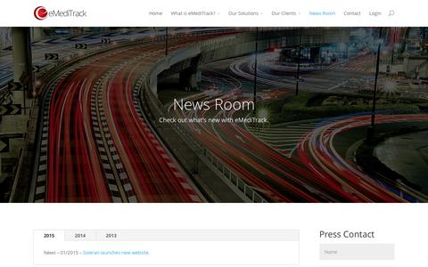 Screenshot of Press Page emeditrack.com - News Room | eMediTrack | Hospital Solutions - captured Feb. 2, 2016