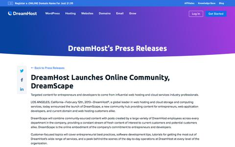 Screenshot of Press Page dreamhost.com - DreamHost Launches Online Community, DreamScape  – DreamHost - captured Feb. 21, 2020