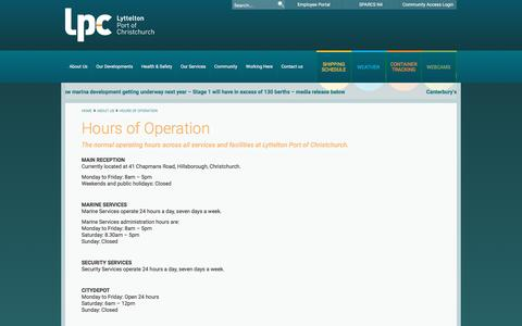 Screenshot of Hours Page lpc.co.nz - Hours of Operation - Lyttelton Port of Christchurch - captured Nov. 15, 2016