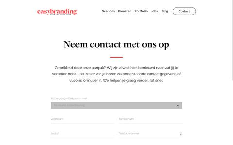 Screenshot of Contact Page easybranding.be - Easybranding I Creatief bureau Kortrijk Contact - captured Sept. 26, 2018