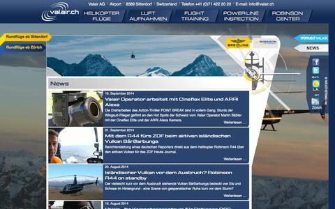 Screenshot of Press Page valair.ch - Valair News - Rundflug Helikopterflug Heliflug Helikopterflüge Gletscherlandungen und Adventures - captured Oct. 7, 2014