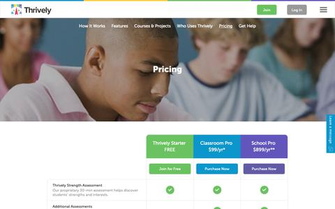 Screenshot of Pricing Page thrively.com - Pricing - captured Nov. 19, 2018