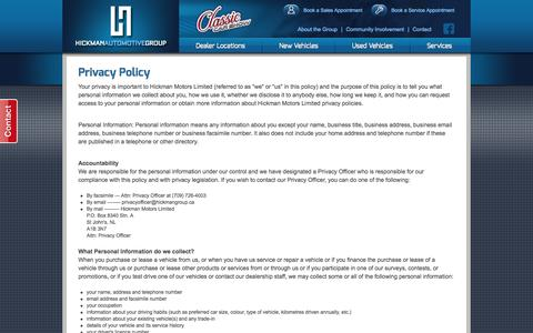 Screenshot of Privacy Page hickmangroup.ca - Privacy Policy | Hickman Automotive Group - captured Oct. 2, 2014